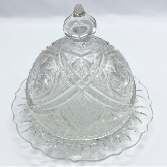 Vintage Cut Glass Cheese Dome Round Butter Dish